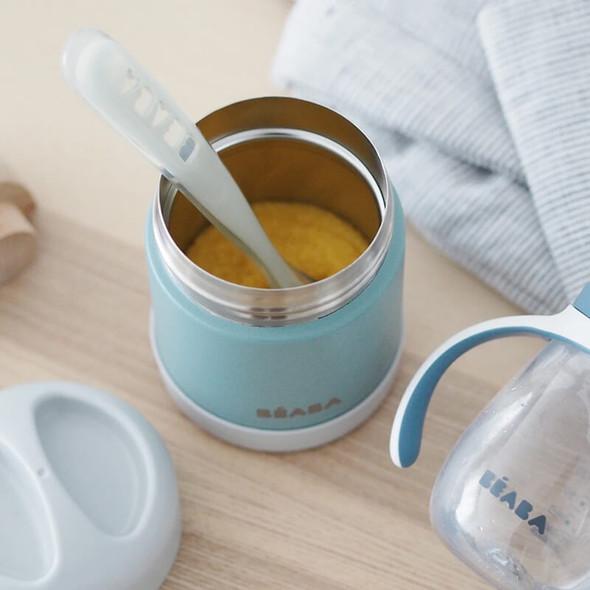 Beaba Stainless steel storage pot 300ml - Light Mist/Eucalyptus Green Live