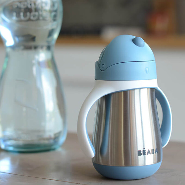 Beaba Stainless Steel Straw Cup 250ml - Windy Blue Live
