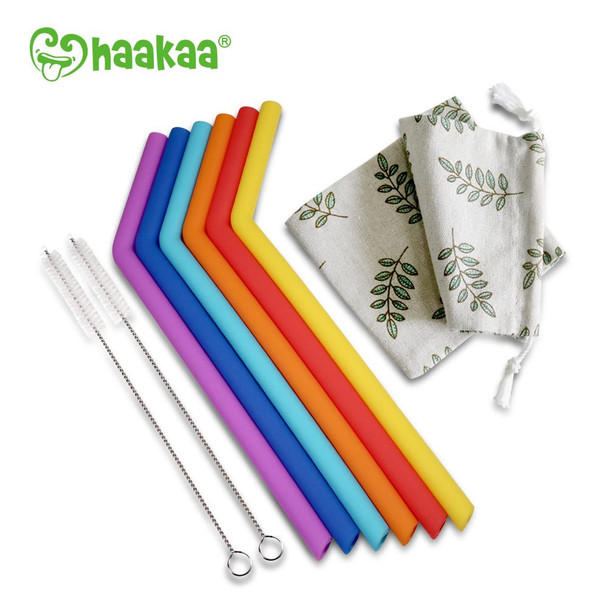 Haakaa Silicone Re-Usable Straws - 6 Pack with Cleaner