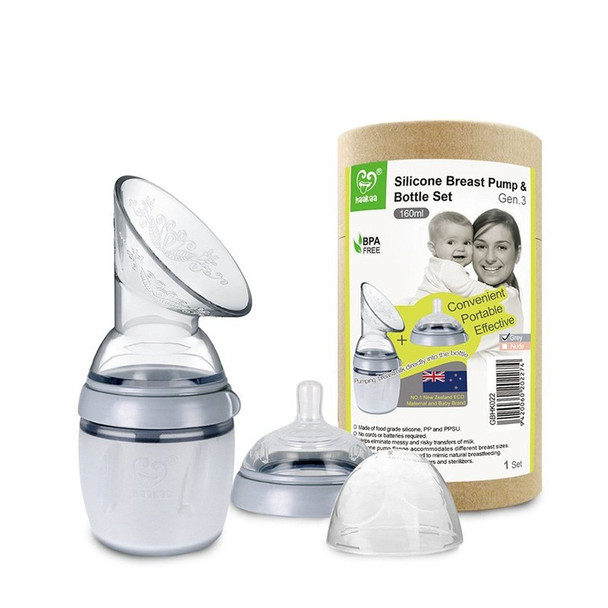 Haakaa Generation 3 Silicone Breast Pump 160ml & Bottle Set - Grey