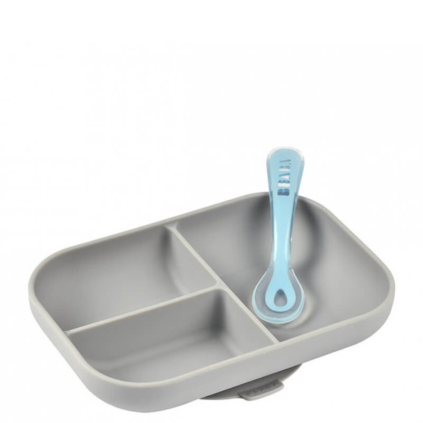 Beaba Silicone Suction Compartment Plate - Grey