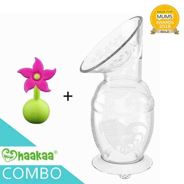 Haakaa Silicone Breast Pump 150ml with Flower Stopper 1