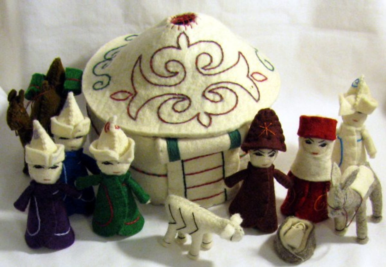Embroidered 10 Pc Felted Wool Nativity With Yurt From Kyrgyzstan The Silk Road Fair Trade Market