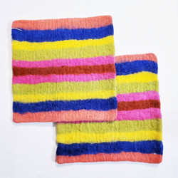 Fair trade felted wool square trivet from Kyrgyzstan