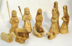 Fair TradeCarved Olivewood Eleven Piece Nativity Set from West Bank