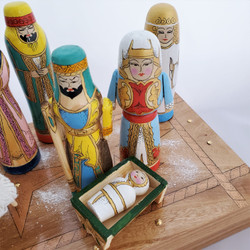Fair Trade Hand Painted Wood Nativity Set in Box from Kyrgyzstan