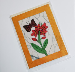 fair trade butterfly on a flower batik note card from Nepal
