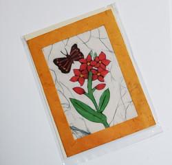 fair trade butterfly on a flower batik note card from Nepal
