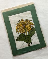 Fair trade batik sunflower card from Nepal