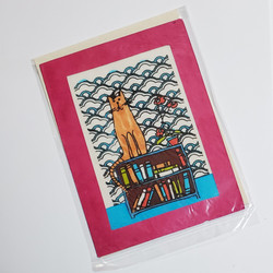 fair trade batik cat on bookshelf note card from Nepal