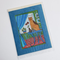 fair trade batik cat and vase note card from Nepal