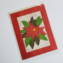 fair trade poinsettia batik note card from Nepal