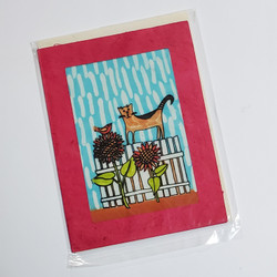 fair trade cat on a gate batik note card from Nepal