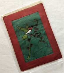Fair Trade Batik Hummingbird Note Card from Nepal.