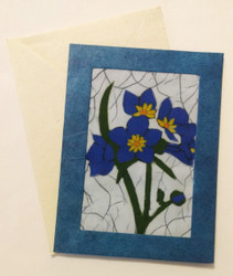 Fair trade batik blue flower note card from Nepal