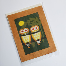 fair trade batik owl note card from Nepal