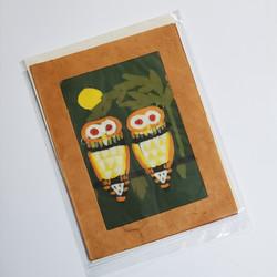 fair trade batik owl note card from Nepal