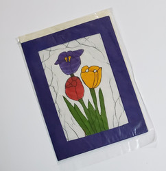 fair trade tulip bouquet batik note card from Nepal