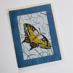 fair trade batik yellow butterfly note card from Nepal