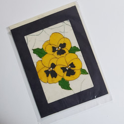 Fair trade batik yellow pansy note card from Nepal
