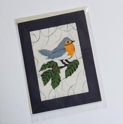 fair trade bird on a branch batik note card from Nepal