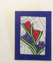 Fair trade batik crocus note card from Nepal