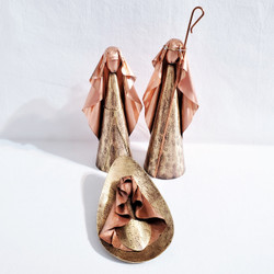 Fair Trade Brass and Copper Holy Family Nativity from Chile
