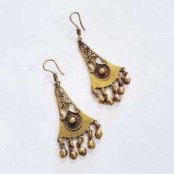 Fair trade brass long dangle earrings from Egypt