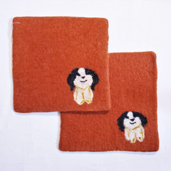Fair trade needle felted wool trivet / potholder with dog from Kyrgyzstan
