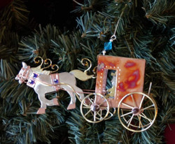 Fair Trade Mixed Metal Amish Buggy Ornament from Thailand