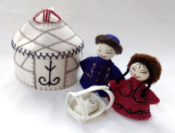 Embroidered Fair Trade 3 pc Felted Wool Nativity with Bishik in Yurt from Kyrgyzstan