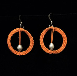 Fair Trade Crocheted Earrings with Silver Plated Bullet Casing Bead from Ethiopia