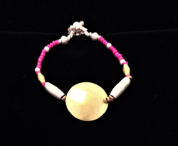 Fair Trade Brass and Silver Plated Bullet Casing Bead Bracelet from Ethiopia
