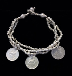 Fair Trade Coin & Silver Plated Bullet Casing Bead Bracelet from Ethiopia