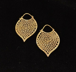 Fair trade brass lotus petal hoop earrings from India