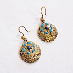 Fair trade brass and stone dangle earrings from Egypt