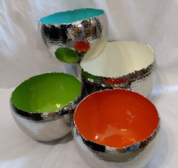 Fair Trade Hammered Aluminum Bowl with Enamel Interior from India