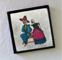 Fair Trade Reverse Glass Painted Day of the Dead Picture from Peru