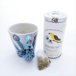 Fair trade lemon mint mate tea bags in tin