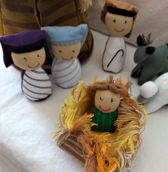 Fair Trade Stuffed Cotton Nativity with Stable from Sri Lanka