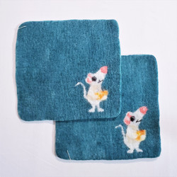 Fair Trade Needle Felted Wool Square Trivet / Potholder with Mouse and Cheese from Kyrgyzstan