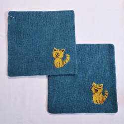 Fair Trade Needle Felted Wool Square Trivet / Potholder with Cat from Kyrgyzstan