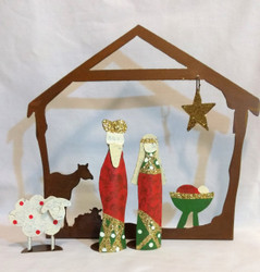 Fair Trade Painted Recycled Metal Nativity Set from Colombia