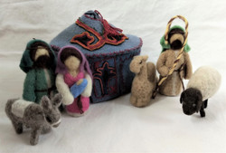 Fair Trade Needle Felted Wool Nativity Set with Tush Kyiz Yurt from Kyrgyzstan
