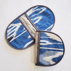Fair trade quilted cotton adras fingertip pot holder from Kyrgyzstan