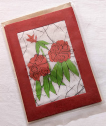 Fair Trade Batik Rhododendron Note Card from Nepal