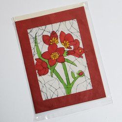 fair trade red sentila flower note card from Nepal