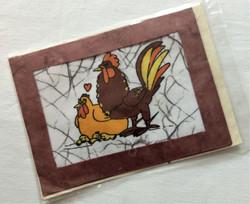 Fair Trade Batik Rooster Card from Nepal
