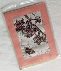 Fair Trade Batik Pink Flower Note Card from Nepal