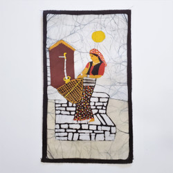 Fair trade batik woman carrying basket wall art from Nepal